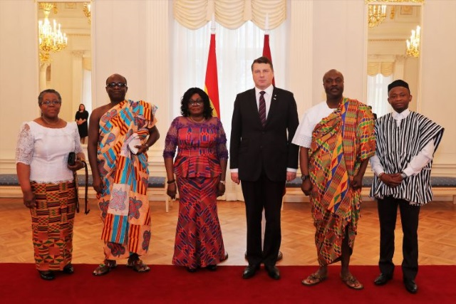 H.E. AMB. GINA AMA BLAY PRESENTS LETTERS OF CREDENCE TO THE PRESIDENT OF LATVIA, H.E. MR. RAIMONDS VĒJONIS
